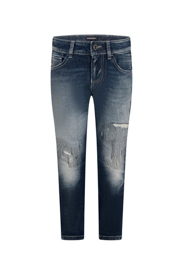 Boys Blue Distressed Denim Jeans