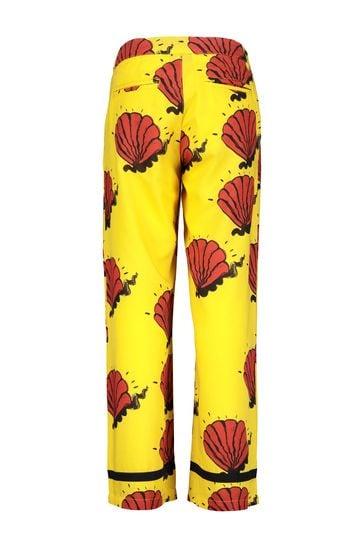 Kids Yellow Shell Woven Trousers