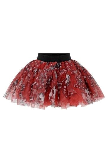 Girls Red Tulle Bow Print Skirt