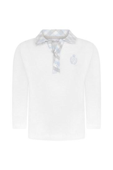 Boys White Cotton With Blue Checkered Collar Polo Top