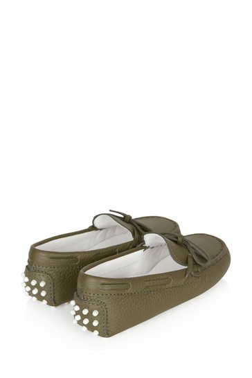 Boys Green Leather Loafers