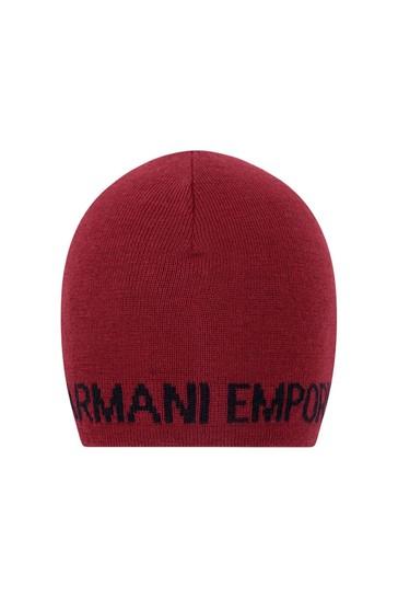 Boys Red Wool Logo Hat