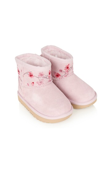 Girls Pink Leather Classic Mini Blossom Boots