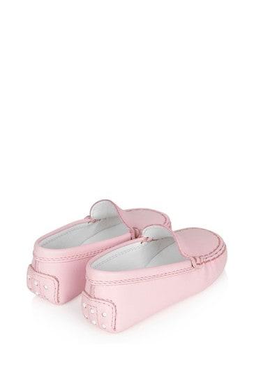 아기 소녀 핑크 가죽 로퍼