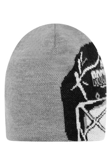 Boys Grey Wool Helmet Hat & Scarf Set