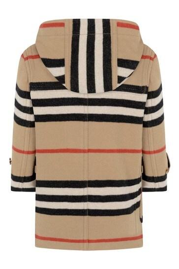 Boys Beige Icon Stripe Wool Coat