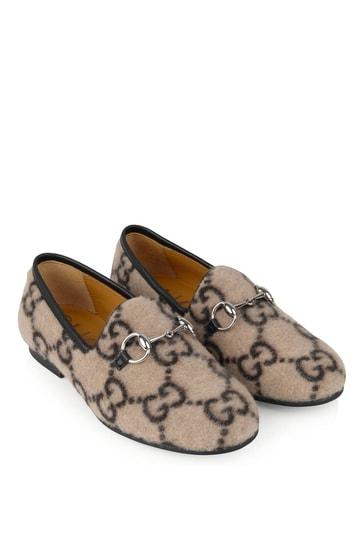 Beige GG Wool New Jordaan Loafers
