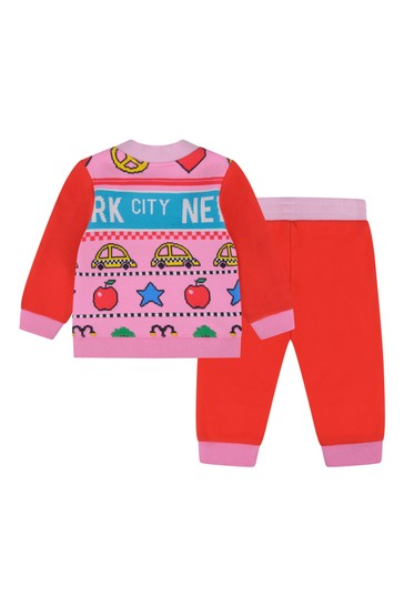 Baby Girls Red/Pink Cotton Tracksuit