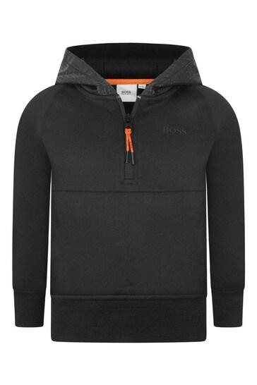 Boys Black Logo Hooded Sweater