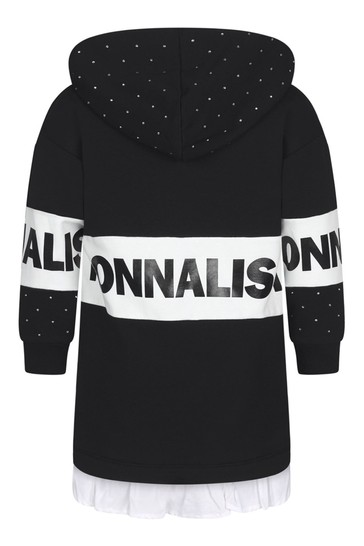 Girls Black Cotton Diamanté Hooded Dress