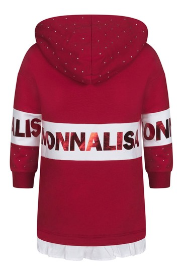 Girls Red Cotton Diamanté Hooded Dress