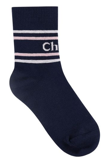 Girls Navy Logo Socks