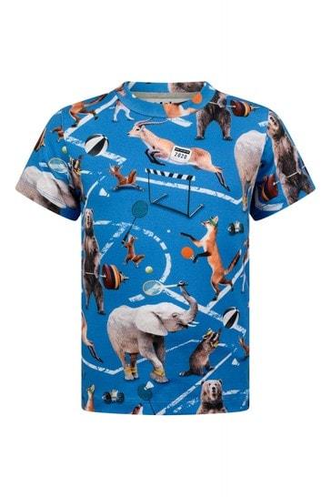 Boys Blue Animals Organic Cotton Athletic T-Shirt