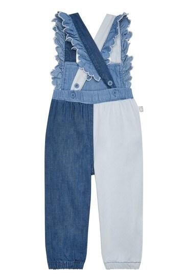 Baby Girls Blue Cotton Jumpsuit