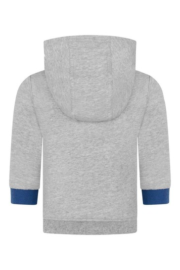 Baby Boys Grey Cotton Hooded Sweater