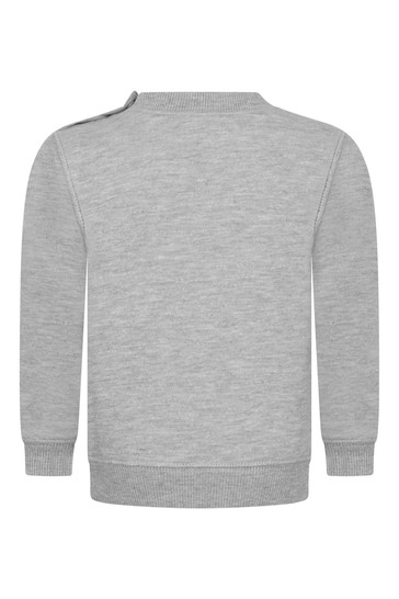 Baby Boys Grey Cotton Batwing Logo Sweater