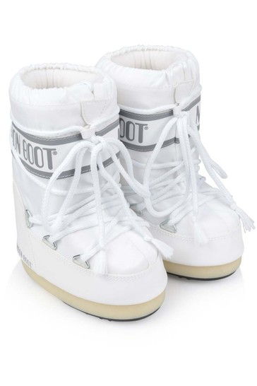 Kids White Nylon Snow Boots