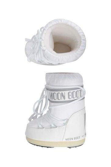 Kids White Nylon Snow Boots