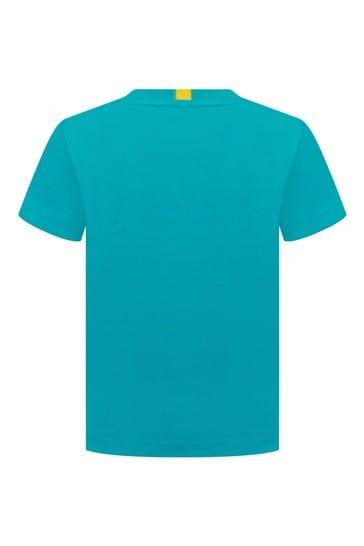 Boys Cotton Turquoise Leopard Crocodile Short Sleeve T-Shirt
