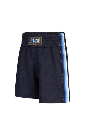Boys Navy Logo Bermuda Shorts