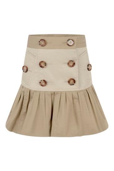 Girls Beige Cotton Skirt