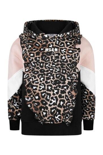 Girls Leopard Print Cotton Zip-Up Top