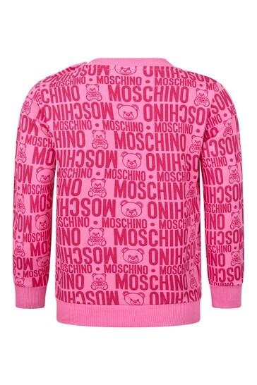Moschino 베이비 걸스 핑크 코튼 스웨터