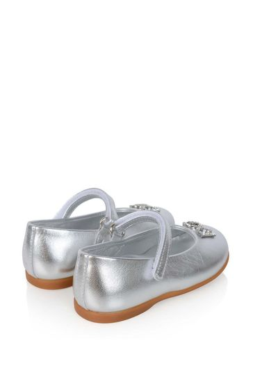 Girls Gold Leather Ballerina Shoes