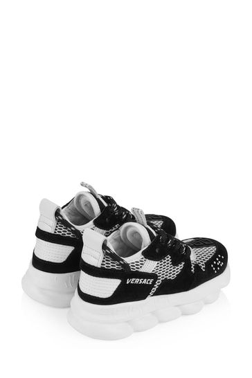 Kids Black & White Suede & Mesh Trainers