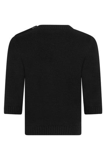 Baby Boys Black Cotton & Cashmere Sweater