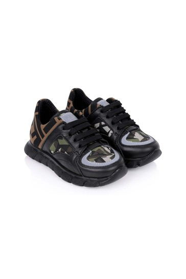 Buy Boys Black/Camouflage Trainers from