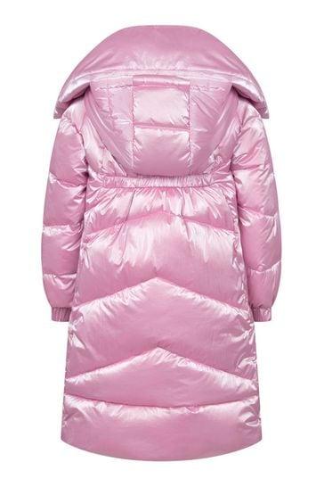 Girls Pink Down Padded Coat
