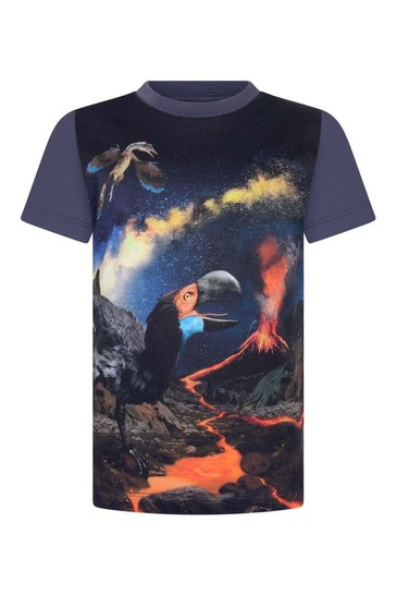 Boys Navy Organic Cotton Wild Past T-Shirt