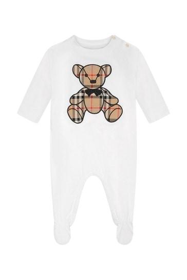 White Cotton Teddy Babygrow