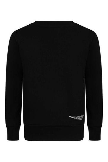 보이즈 블랙 코튼 하이브리드 프린트 스웨트셔츠
