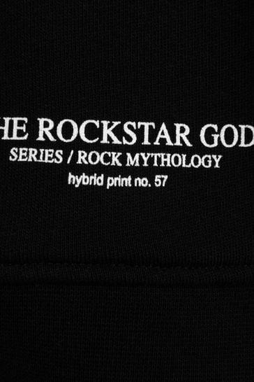 Boys Black Cotton Hybrid Print Sweatshirt