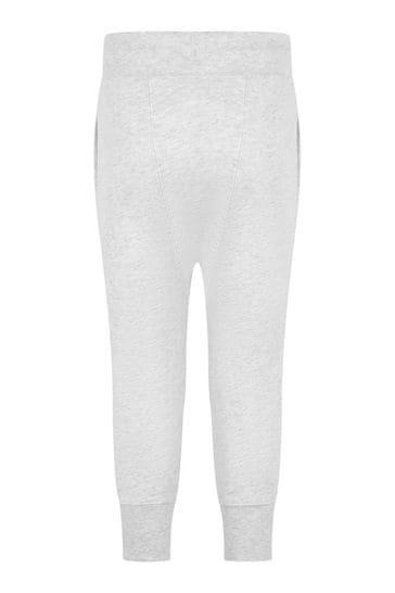 Girls White Cotton Joggers