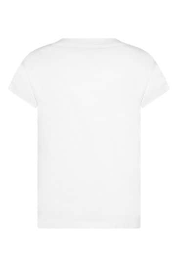 Girls White Cotton Sequins T-Shirt