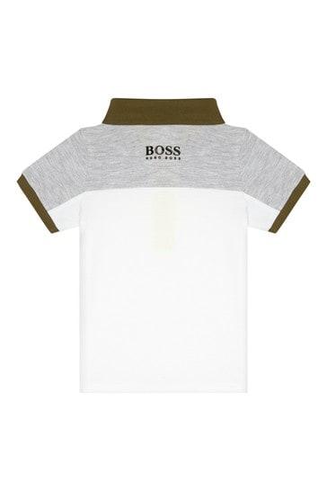BOSS 베이비 보이즈 그레이 코튼 폴로셔츠