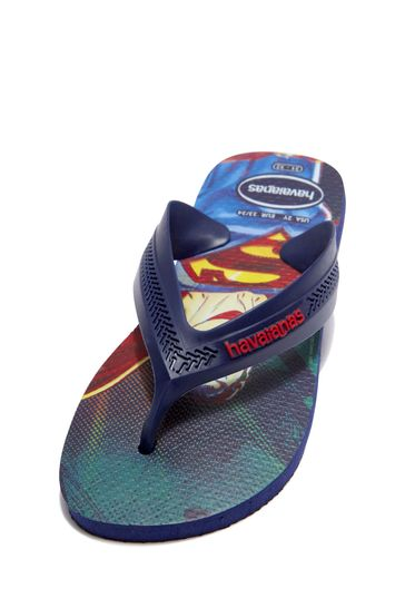 Boys Navy Superman Flip Flops