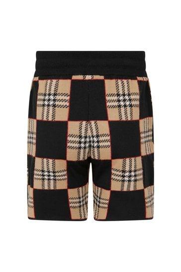 Boys Black/Beige Check Wool Shorts