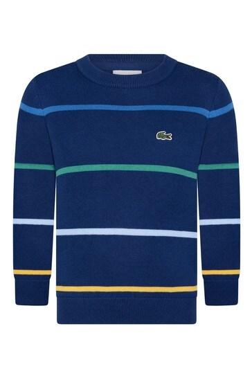 Boys Navy Striped Crew Neck Sweatshirt