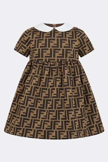 Baby Girls Brown FF Logo Jersey Dress