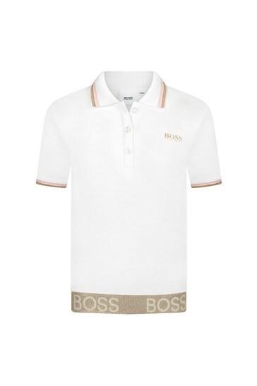 Girls White Cotton Poloshirt