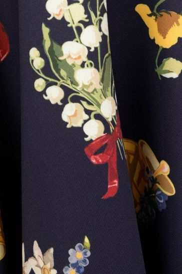 Girls Navy Neoprene Floral Dress