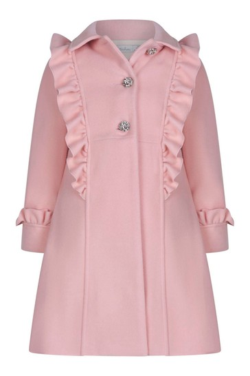 Girls Pink Diamanté Embellished Coat