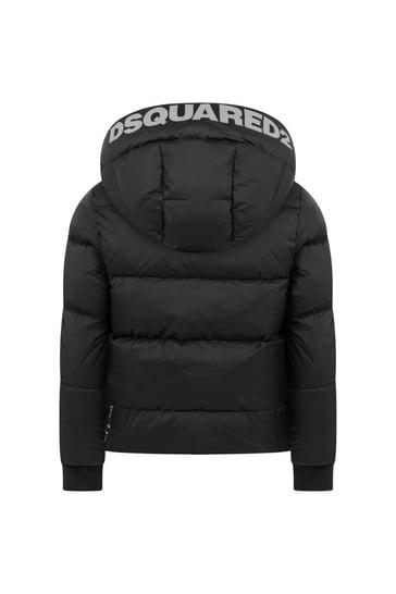 Kids Black Padded Branded Jacket