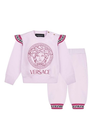 Baby Girls Pink Cotton Logo Tracksuit