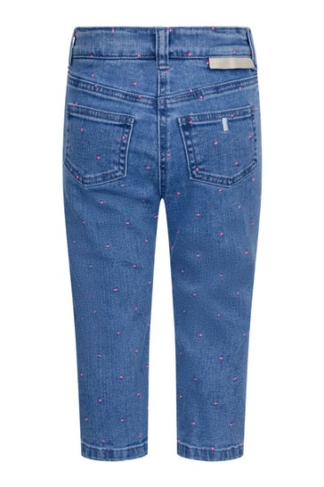 Girls Blue Denim Embroidered Dot Jeans