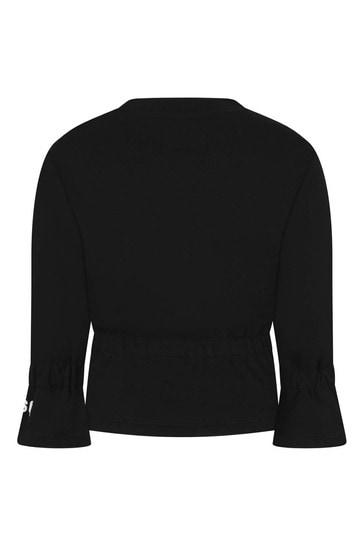 Girls Black Cotton Sweatshirt